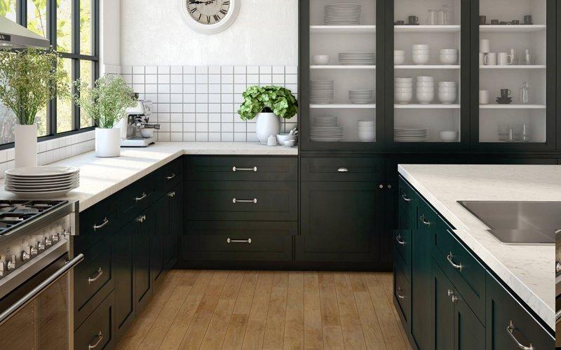 black and white laminex kitchen