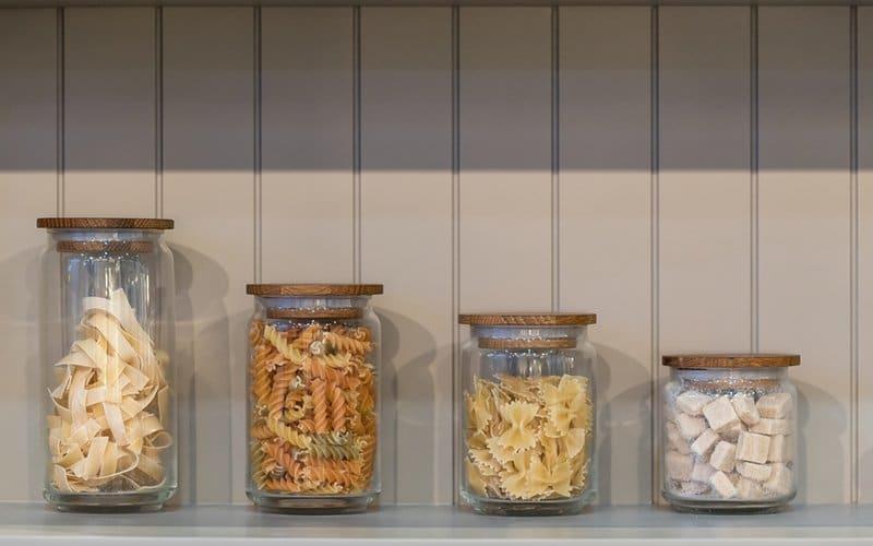 ingredient display jars in kitchen