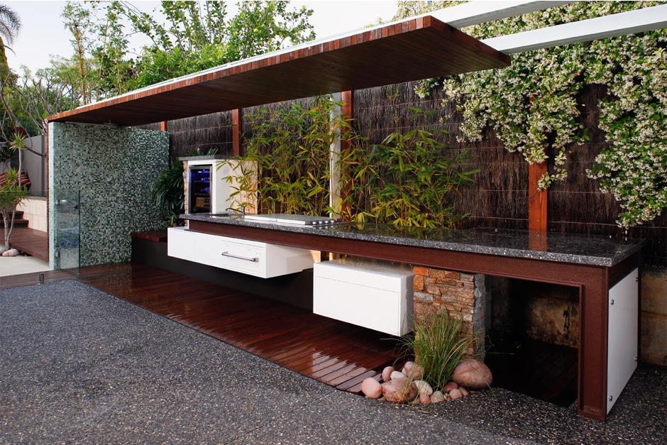 outdoor kitchen with wooden floor