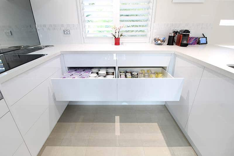 kitchen with white drawers