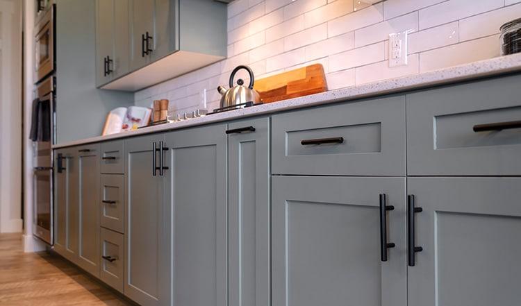 kitchen craftsmen renovation blog cabinet finishes grey cabinets black handles